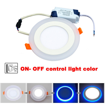 5pcs/lot 9W 3Model LED Panel Ceiling Lamp Downlight Panel  Lamp  Blue + White(AC85-265V)