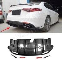 Углеродного волокна задний бампер диффузор спойлер для Alfa Romeo Giulia комплект кузов 2017 +