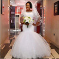 Vestido de novia 2017 de Novia Dubai Blanco manga Corta Scoop Por Encargo Musulmán Vestido de Novia vestidos de Novia de Princesa de Belleza