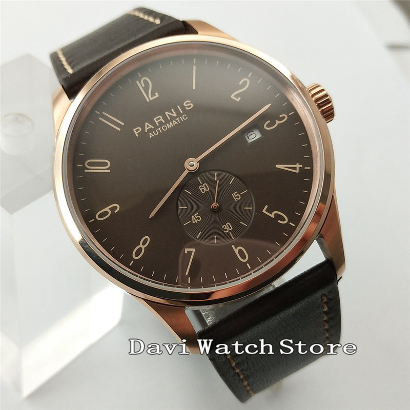 41mm Parnis Coffee/Black Dial Leather Band Mens's Sea gull Automatic GMT Wrist Watch