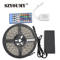 SZYOUMY SMD 5050 RGBW Led Strip Tape Light RGBWW DC12V Flexible Ribbon Lamp 60Led/M 40key Controller+12V 5A Power Supply Adapter