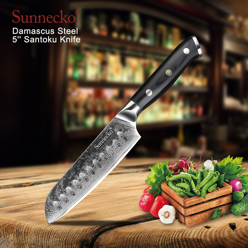 SUNNECKO Professional 5 Santoku Knife 73 Layers Damascus Steel Kitchen Knife Japanese VG10 Blade Meat Chef
