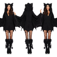 Women Halloween Costumes Black Evil Vampire Bat Costume Plays Costume Dress Catsuit Vampire Devil Batman Carnival