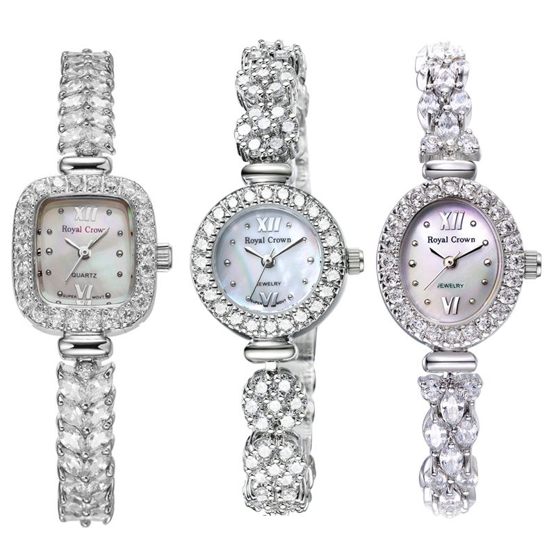925 Sterling Silver Royal Crown Lady Women s Watch Japan Quartz Jewelry Hours Fine Clock Crystal