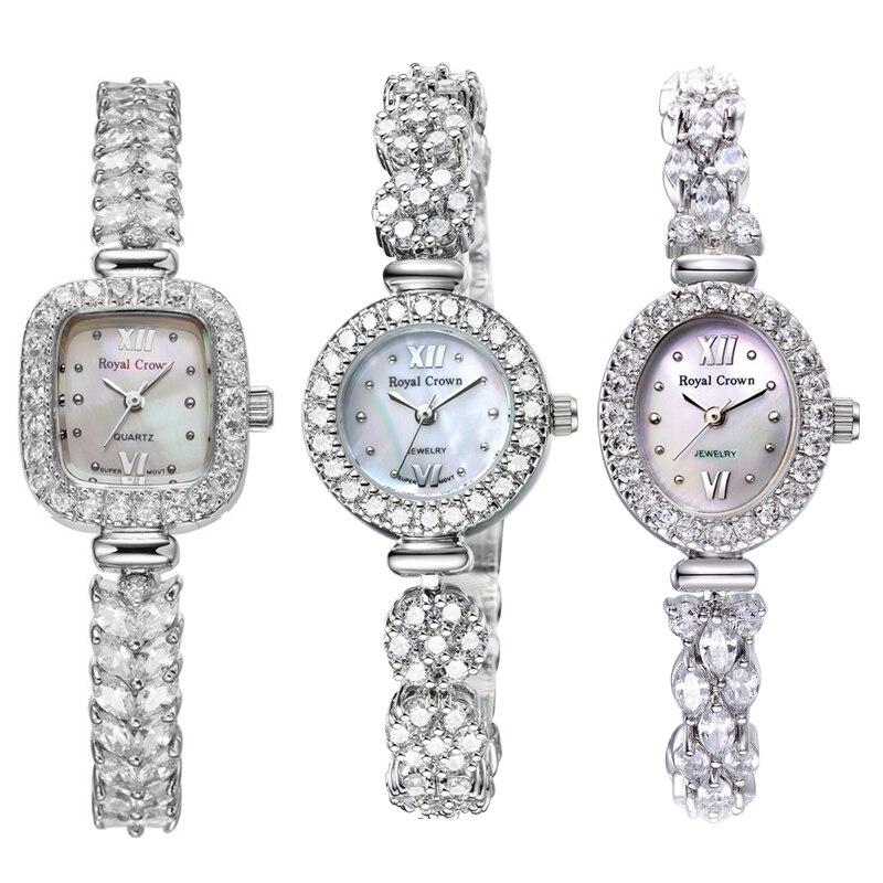 925 пробы, серебряные, Королевская корона, женские часы, Япония, кварцевые ювелирные часы, изящные часы, Кристальный браслет, роскошный подарок для девушек