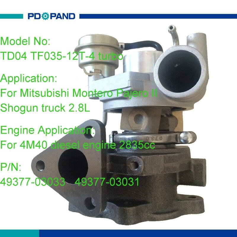 Moteur refroidi à l'huile turbo chargeur kit TD04 superchargeur 49377-03033 49377-03031 pour Mitsubishi Montero Pajero Shogun camion 2.8L