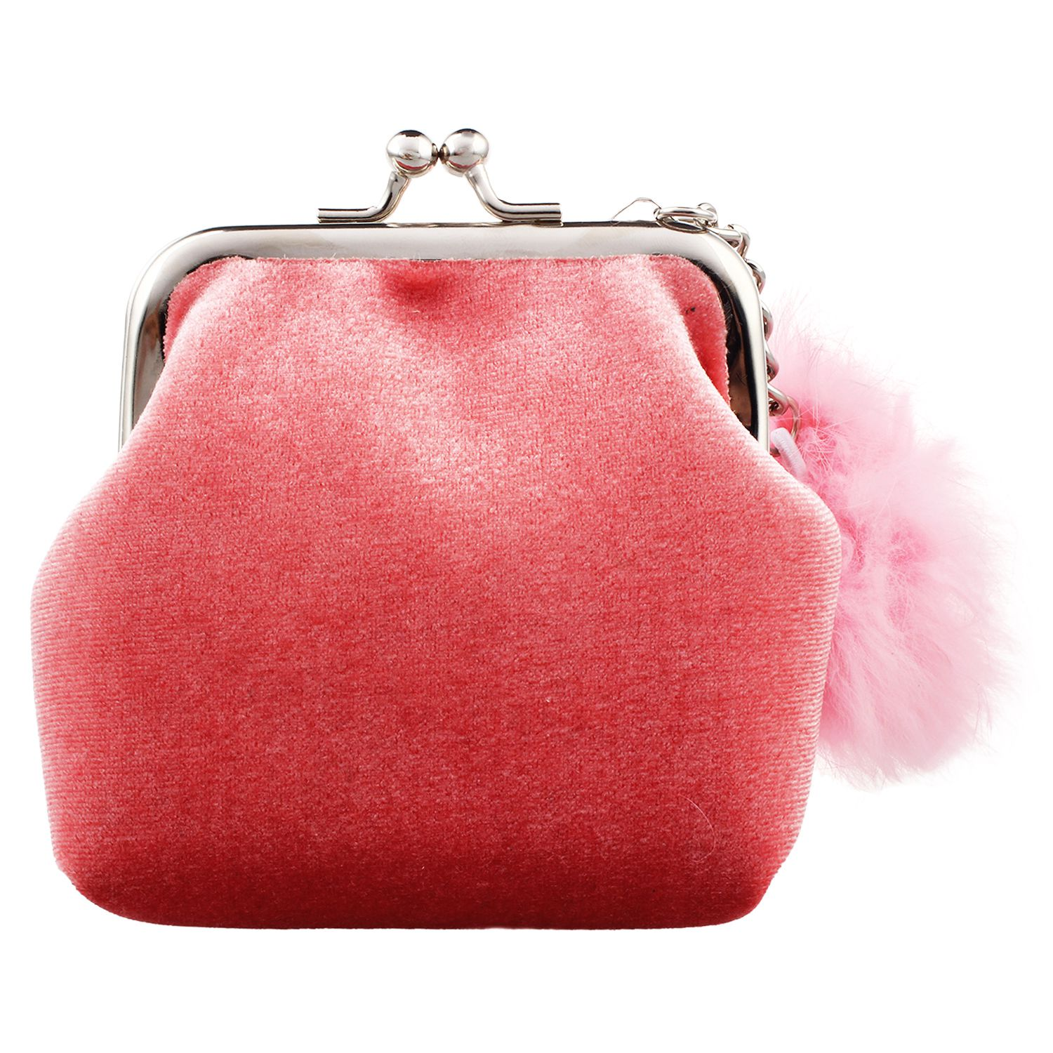 HEBA-Fashion Women Velvet Lovely Small Wallet Cute Fur Ball Lady Daily Use Travel Hasp Retro Kids Mini Bags Soft Wallet For gi
