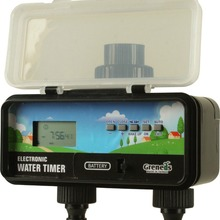 2 zone lcd digital solar electronic water timer with rain sensor function 2 outlets adopt solenoid valve 5 keys to set program