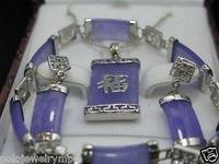 Versilbert Lila stein anhänger Errings Armband set + Free kette>>> uhr großhandel Quarz stein CZ kristall