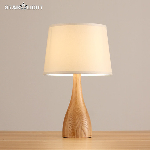 Europe Wood Table Lamp Modern Streamline Design Wooden Light Bedroom Bedside Fabric Wood Lamp