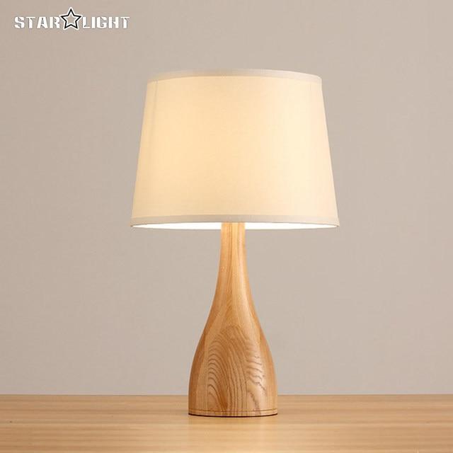 Europe Wood Table Lamp Modern Streamline Design Wooden Light Bedroom  Bedside Fabric Wood Lamp Cloth Shade