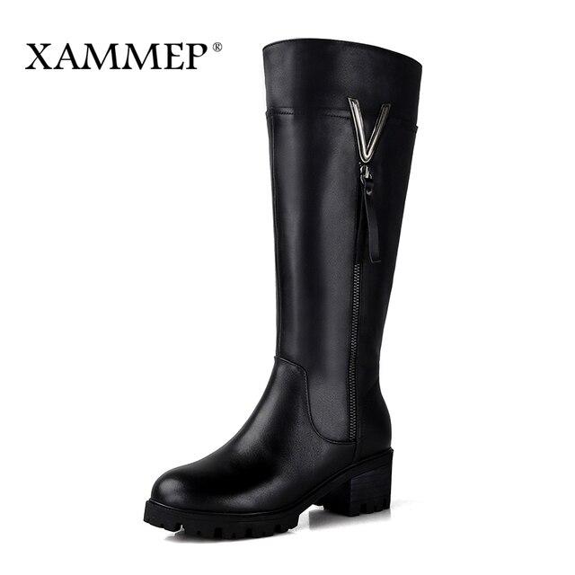Женские зимние сапоги из натуральной кожи, Брендовая женская зимняя обувь, теплые сапоги до колена из натуральной шерсти и плюша высокого качества, Xammep