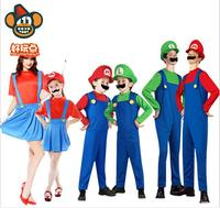 Children Funy Cosplay Costume Super Mario Luigi Brothers Plumber Fancy Dress Up Party Costume Cute Kids
