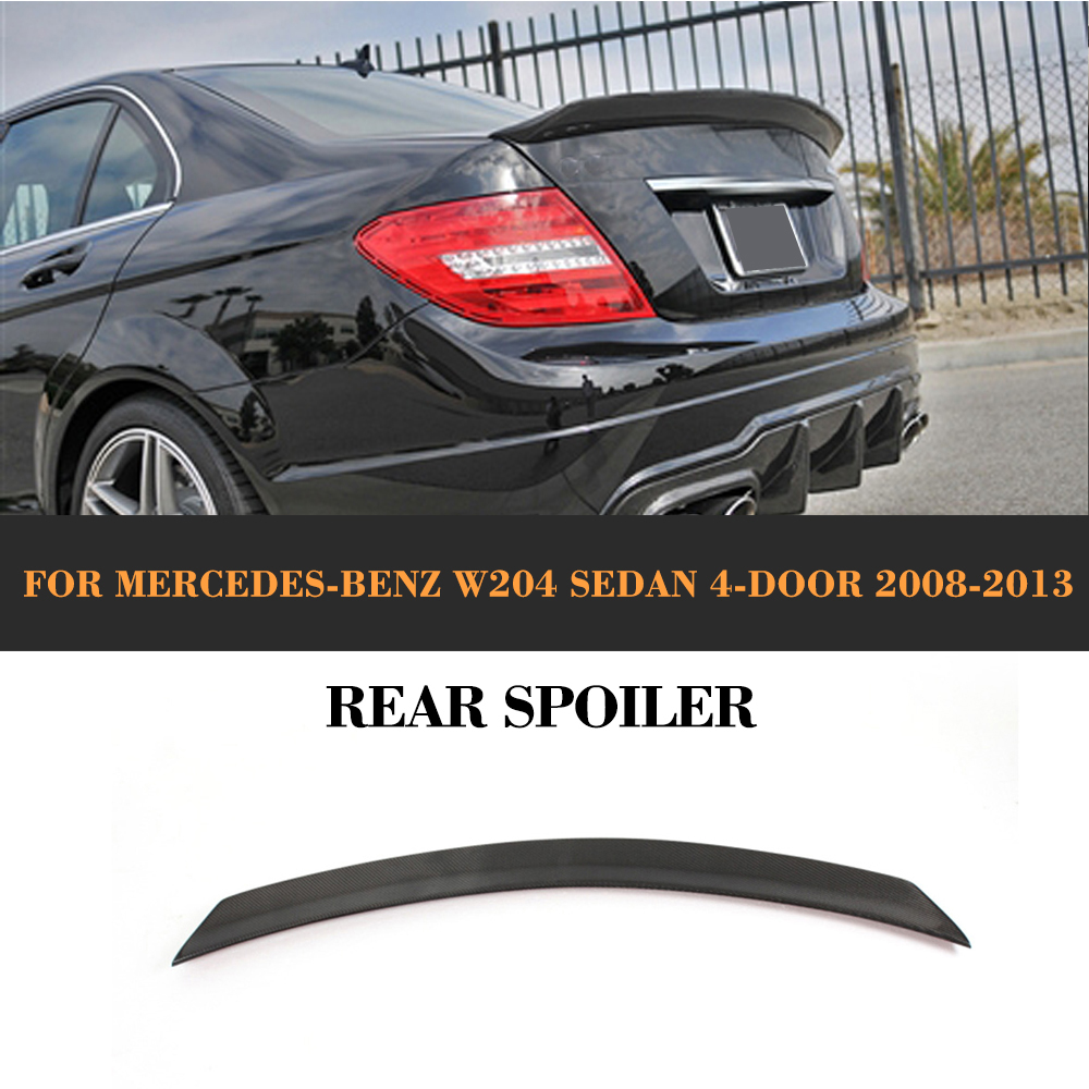 C Class Carbon Fiber Rear Trunk Boot Lip Spoiler Wing For Mercedes Benz W204 C180 C250 C300 C63 AMG Sedan 4 Door 08-14 Car Cover цена