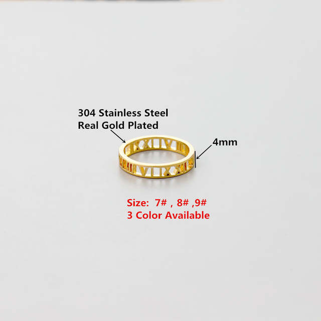 Classic Roman Numerals Rings Vintage Jewelry Stainless Steel Rose Gold Anel  Feminino Wedding Rings For Women Men Bisuteria 2018