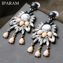 IPARAM Good Quality NEW 2018 Classic Jewelry Exaggerated Rhinestone Crystal Long Earring For Women Statement Earrings Gift