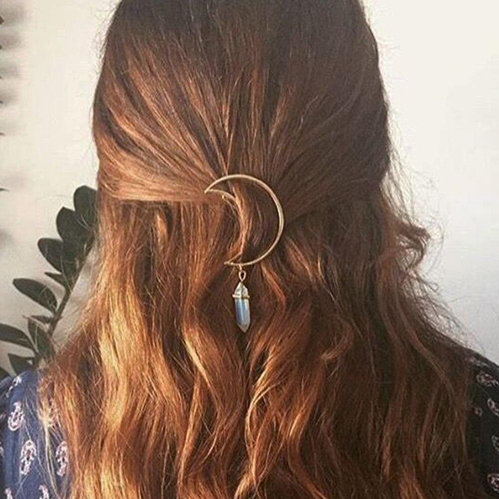 Charm Hollow Vintage Cresent Hair Clip Moon Shape Pendant Clamp Pin Barrette Hair Ornaments