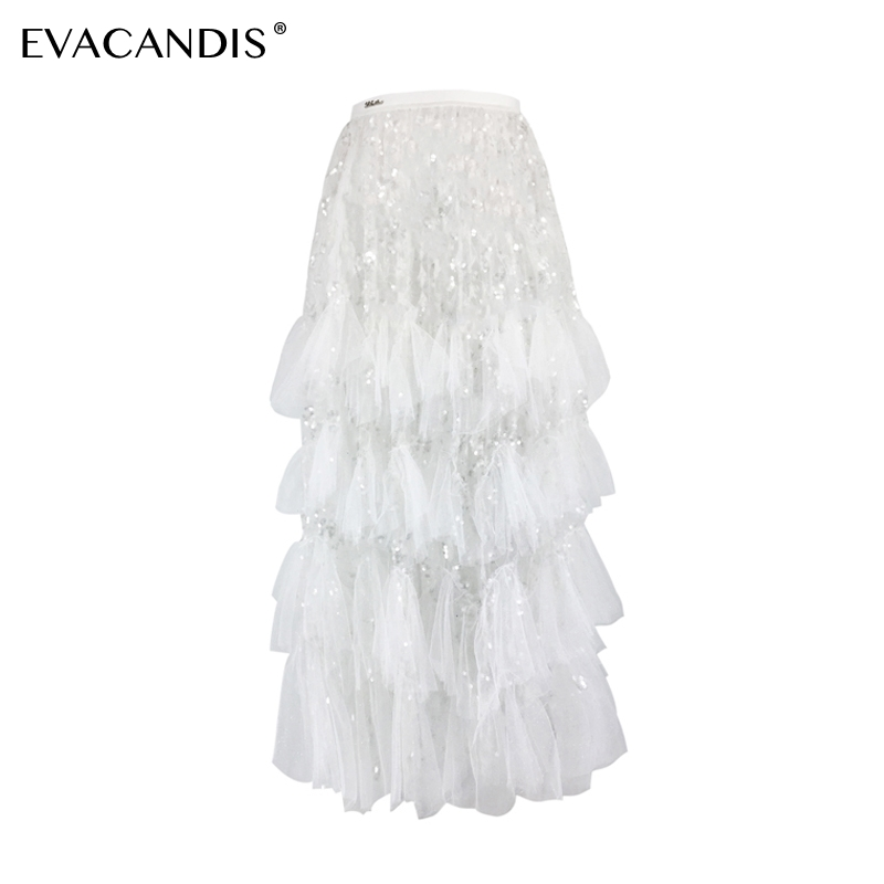 Sequin Skirt Designer Elegant Korean Diamond White Party Summer Long Mesh Layered Runway Vintage Fashion Women Skirt(China)
