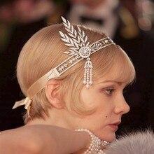 1920 s Flapper Gran Gatsby Pelo joyería de la Boda accesorios para el cabello Diadema de la vendimia coroa noiva head chain