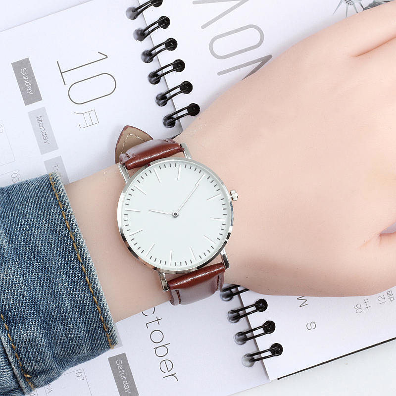 Simple Ultra-thin Quartz Leather Strap Wrist Watch Men Fashion Dress Women Watches 3 Color Casual Sport Couple Clock Reloj Mujer couple fashion fashionable verycomfortable wearing nylon strap analog quartz round wrist watch watches women clock reloj