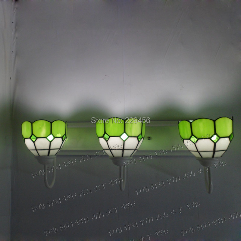 3 Lights Tiffany Wall Lamp Mediterranean Sea Stained Glass Wall Sconces Mirror Bedside Cabinet Fixtures E27 110-240V tiffany baroque sunflower stained glass iron mermaid wall lamp indoor bedside lamps wall lights for home ac 110v 220v e27