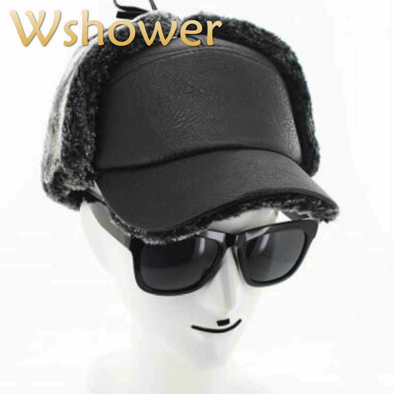 8f03425a973 Detail Feedback Questions about PU ear flap winter cap for old men  thickened warm earflap male cap outdoor windproof faux leather men s bomber  hat drop ...