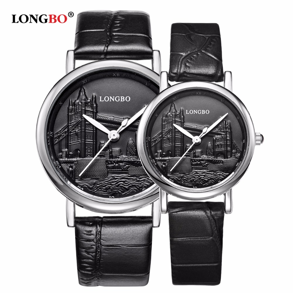 LONGBO Brand New Fashion Watch Women Elegant Leather Strap Luxury Tower Bridge Emboss Casual Quartz Watch Popular Lover Watch saimi skdh145 12 145a 1200v brand new original three phase controlled rectifier bridge module