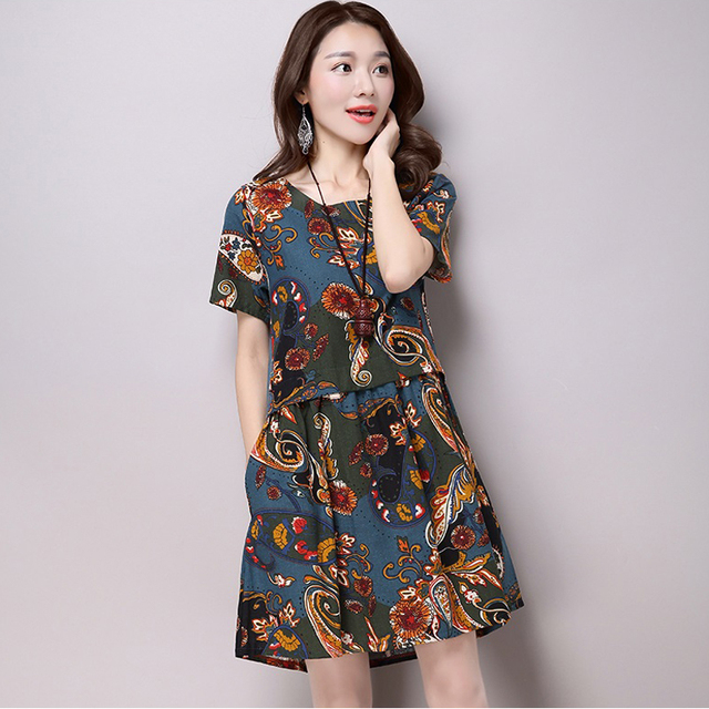 2017 Spring Autumn Style Long Sleeve Print Casual  Dress Women Vintage Plus Size Maternity Long Cotton Linen Dress Vestidos Robe