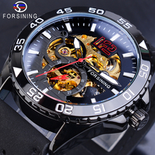 Forsining Automatic Watch Mens Mechanical Watches Steampunk Black Leather Transparent Skeleton Waterproof Clock Man Dropshipping