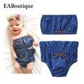Eaboutique 2017 nova moda denim algodão design bonito menina roupa do bebê 2 peça set