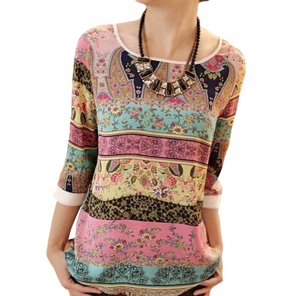 Tribal Print Blouses Lace Printing Three Quarter P...