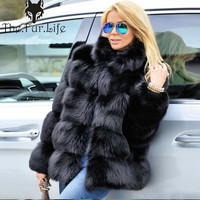 Fashion Style Warm Real Fox Fur Coat Blue Customize Fox Fur Jackets Stand Collar For Ladies Big Sale