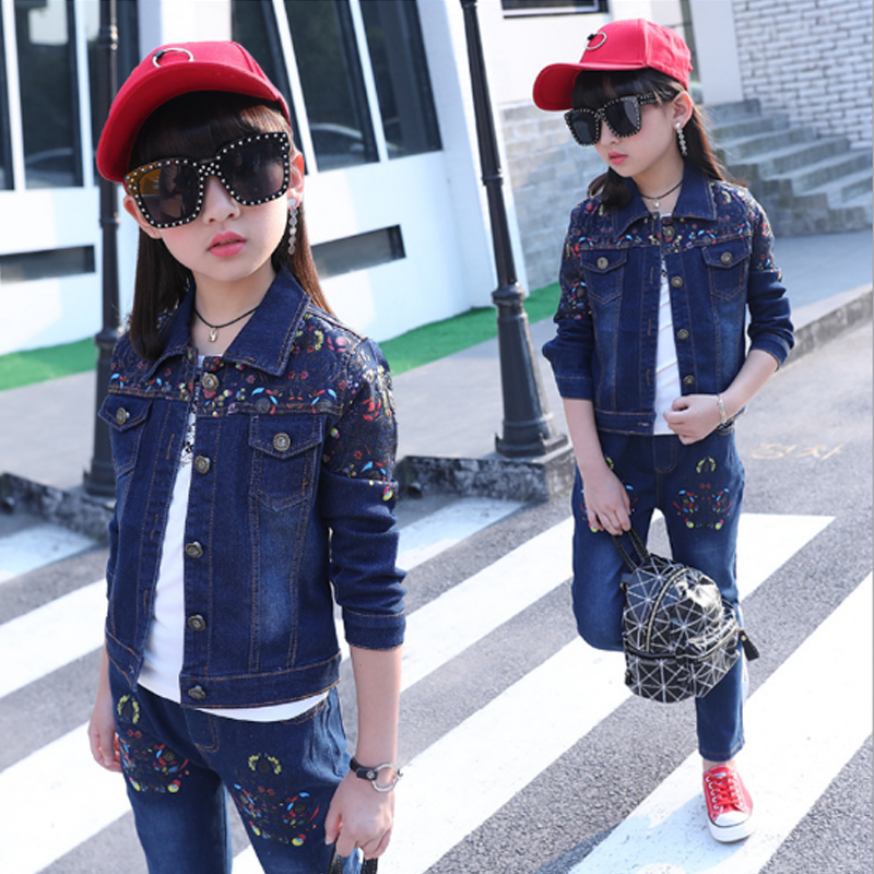 Baby Girls Clothes Sets Kids Suits Autumn 2018 Girl Sets Denim Coat Pants 2Pcs Girls Suit Cotton Casual Children Clothing 3cs100 malayu baby kids clothing sets baby boys girls cartoon elephant cotton set autumn children clothes child t shirt pants suit