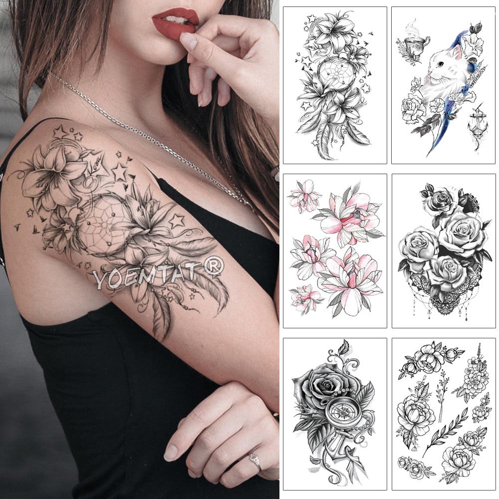 Lily Rose Dream Catcher Waterproof Temporary Tattoo Sticker Black Lace Stars Arm Back Big Tatto Body Art Fake Tatoo For Women