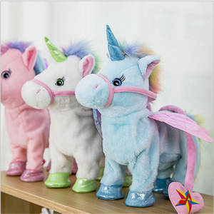 AOCHUANGJIYUAN Walking Plush Electronic Music Unicorn Toy