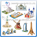 Mini Qute Magic 3d world Architecture Burj Al Arab Hotel windmill eaning Tower card paper Puzzle building models educational toy