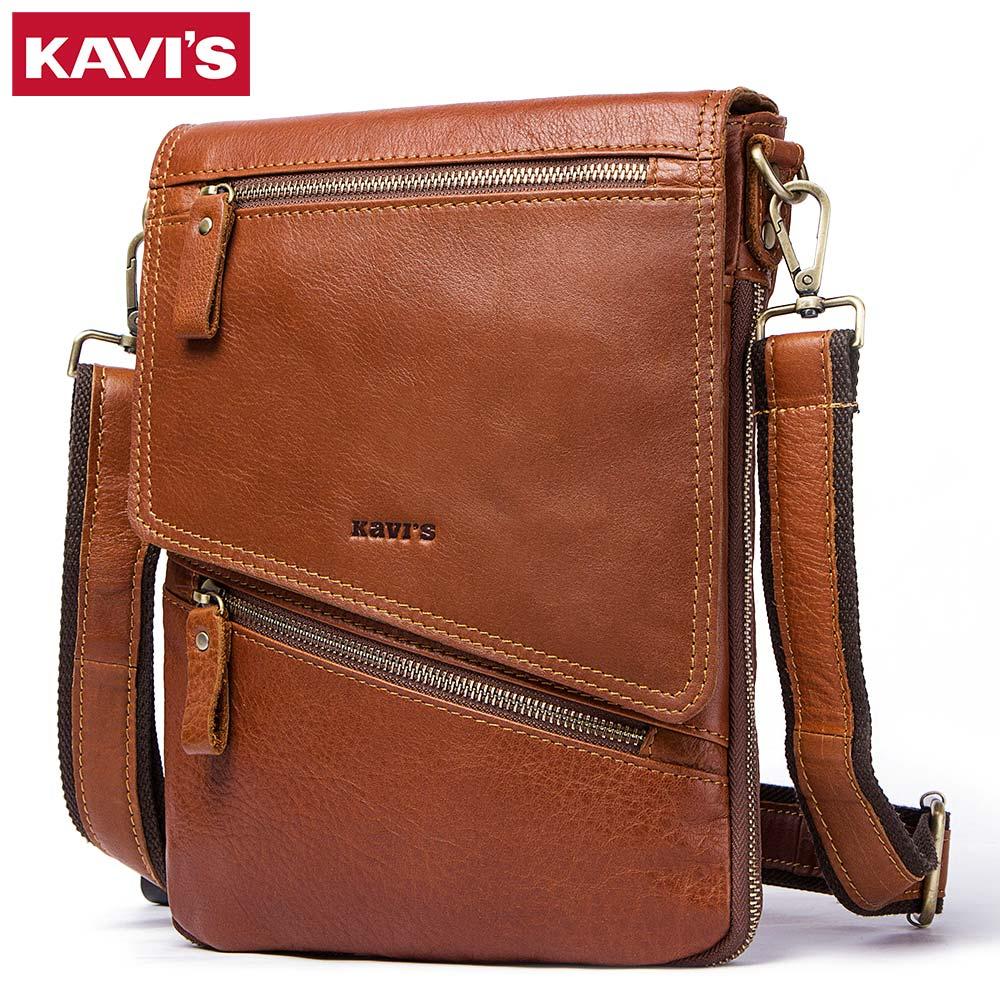 KAVIS 100% Genuine Leather Messenger Bags Men Handbag Bolsas Travel Brand Design Crossbody Shoulder Bag For Clutch Cross Body kavis 100
