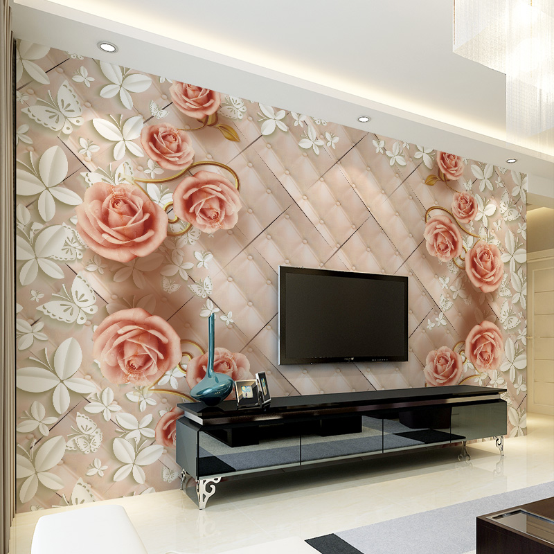 modern floral 3D wallpaper mural bedroom living room TV background study 3d seamless nonwoven fabric wallpapers beibehang modern luxury circle design wallpaper 3d stereoscopic mural wallpapers non woven home decor wallpapers flocking wa