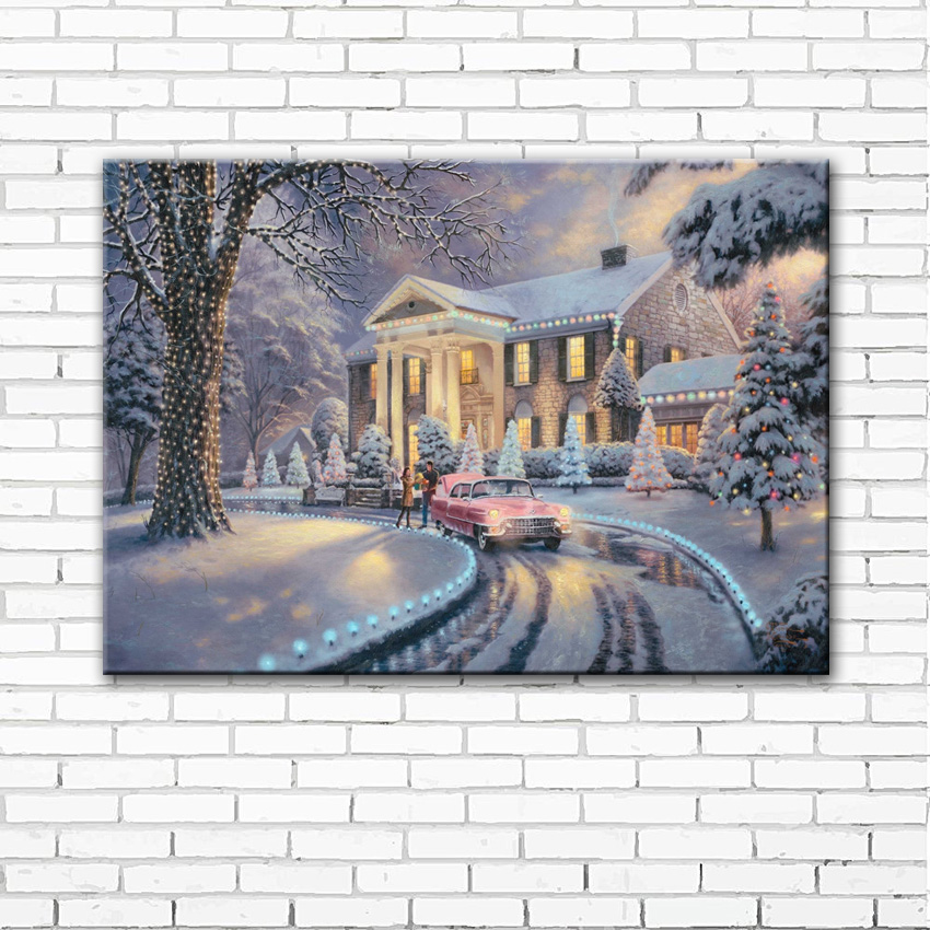 classic Thomas snow Christmas lights house scenery canvas printings oil painting printed on canvas home wall decoration picture