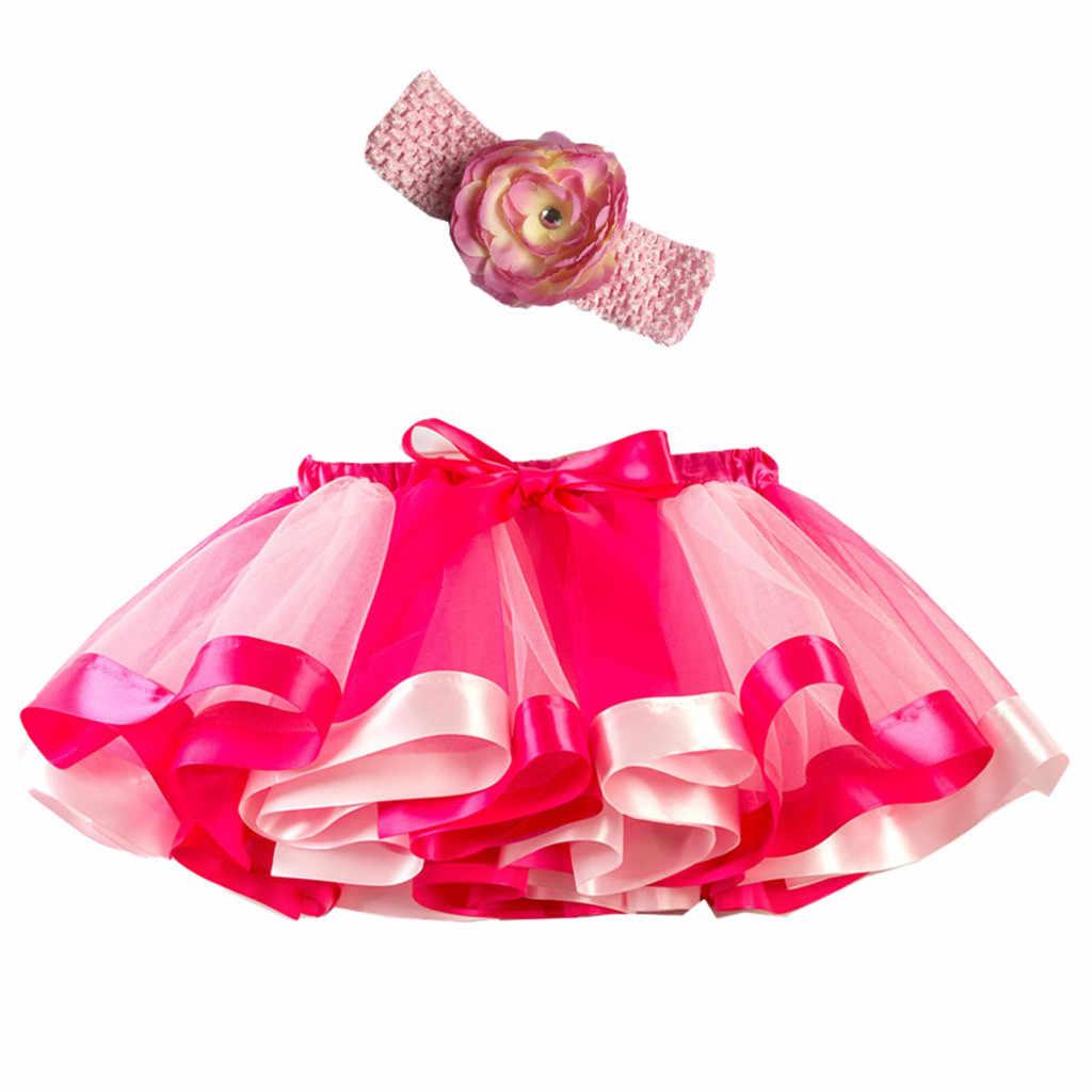 Niñas niños tutú fiesta danza Ballet niño bebé traje falda + diadema conjunto tutú falda niñas faldas Arco Iris falda