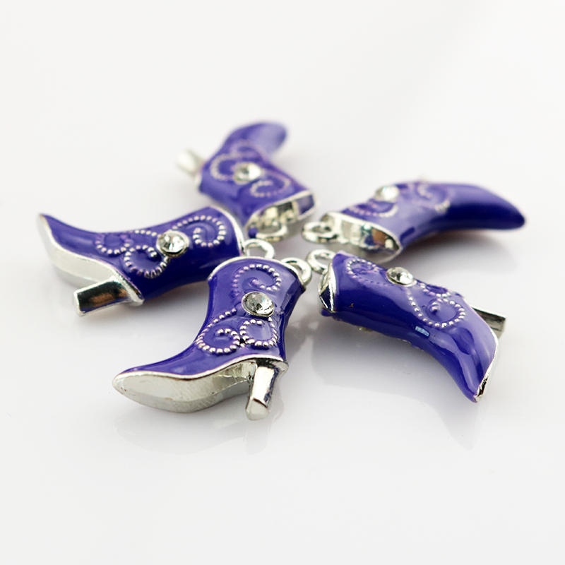 Top Quality 10pcs 16*20mm Zinc Alloy Purple Metal Charms Cute Boots Pendants Necklace DIY Beads Pendant Jewelry Findings