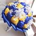 Royal azul rhinestone broche ramos de novia ramo de la boda ramo de novia flor ramo sposa mariage bruidsboeket cristallo