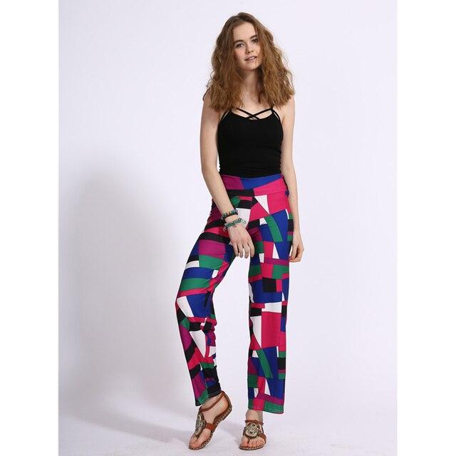 12 Colors New Spring Summer Geometric Printed High Waist Women Leggings Loose Straight-leg Pants Cropped Legins Capri Leggins