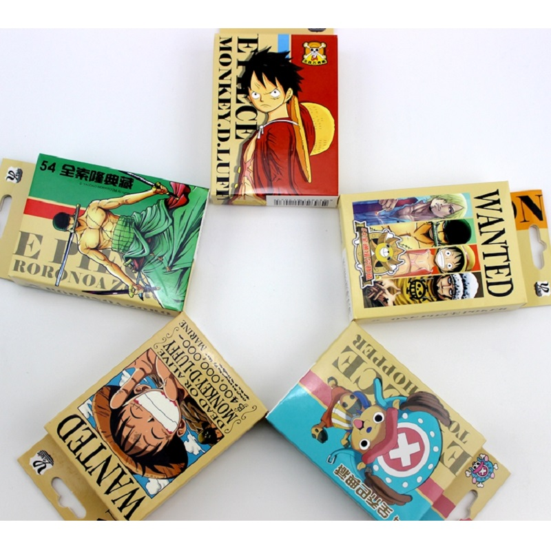 54 Sheets/Set Anime ONE PIECE Luffy Zoro Poker Cards Cartoon Characters Cosplay Board Game Cards Postcard