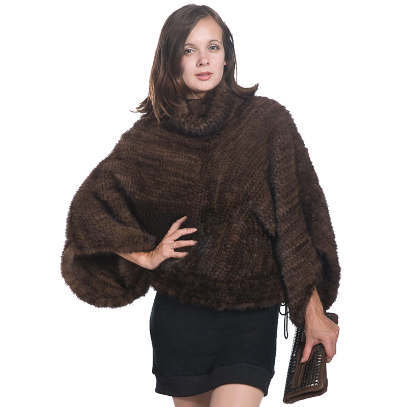 Winter Women's Genuine Knitted Mink Fur Shawls With Mink knit jacket Lady Bat Sleeve Mink knit coat