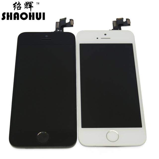 Shaohui um quanlity para iphone 5s lcd touch screen digitador Conjunto completo com câmera frontal + sensor flex + home botão