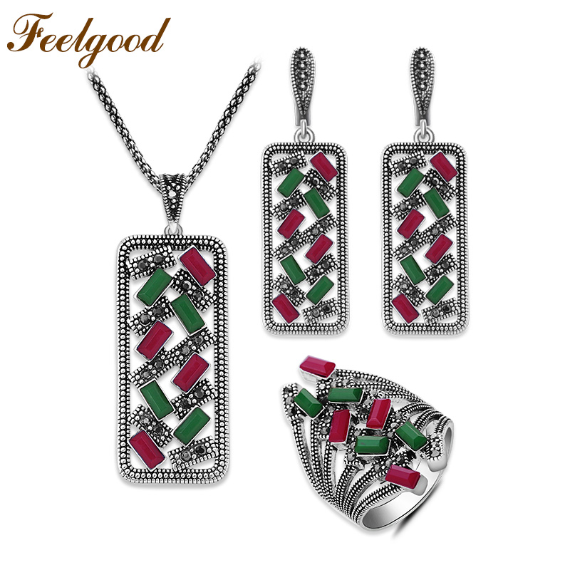 Feelgood Hollow Geometric Bohemian Etniska Vintage Smycken Set ... f18b99fe2b4f8