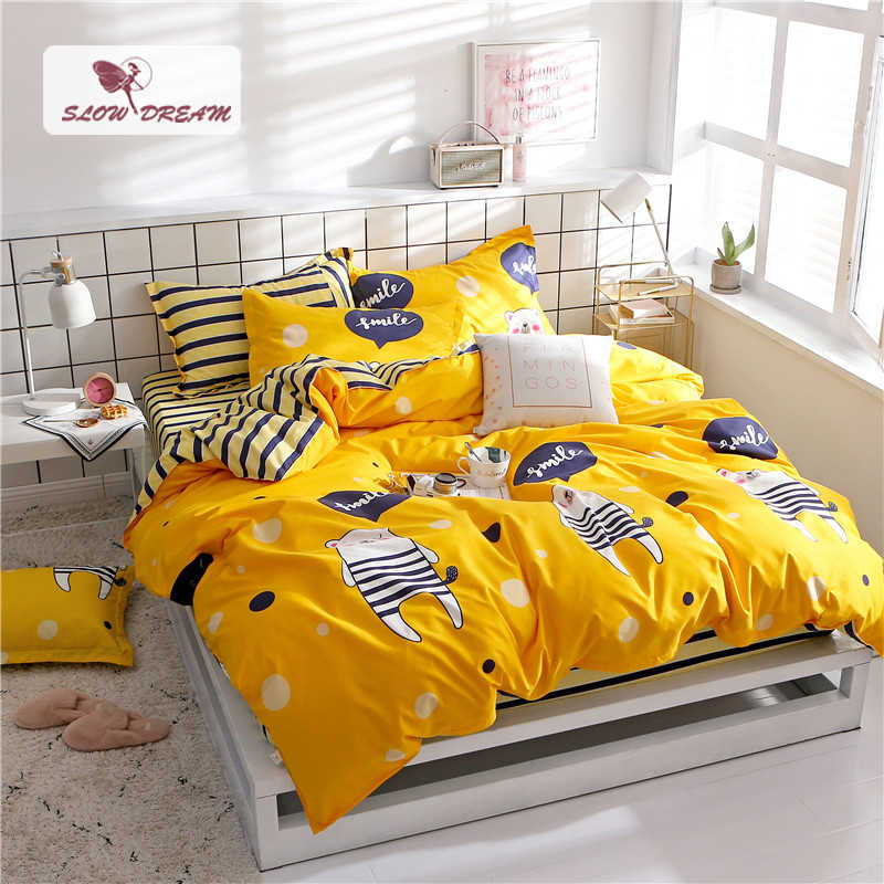 SlowDream Cartoon Bedding Set Fitted Sheet Duvet Cover Set Double Queen Size Bedspread Bed Linen On Elastic Band Rubber Decor Se