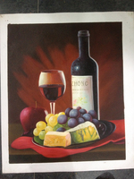 Handpainted Canvas Fruit Red Wine Glass Bottle Oil Painting Decoration For Modern Kitchen Gallery Restaurant Wall