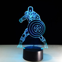 NEW Marvel Avengers Civil War Captain America 3D Illusion Night Light Colorful LED Table Lamp For